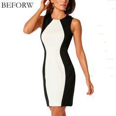 Women's Sleeveless Black And White Splice Dress