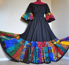 Dance With the Night  Long Unique African Dress by BarefootModiste