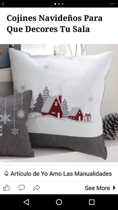 Love the snowflake pillow, too! - Love the snowflake pillow, too! Love the snowflake pillow, too! Christmas Applique, Christmas Sewing, Christmas Embroidery, Christmas Items, Christmas Projects, Christmas Cushions, Christmas Pillow, Felt Christmas, Homemade Christmas