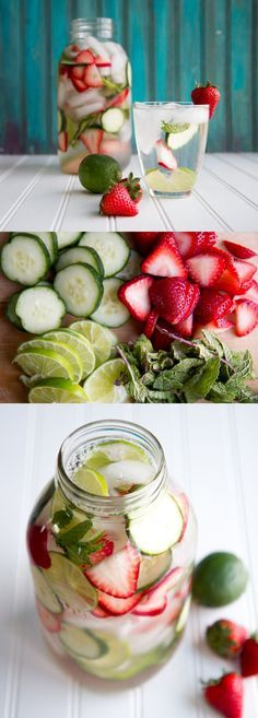 Limes The perfect combination of flavors! Strawberry, Cucumber, Lime and Mint Flavored Water Recipe Easy DIY Detox Water Recipe by DIY Ready at http:diy-recipes-detox-waters Healthy Detox, Healthy Life, Healthy Living, Easy Detox, Healthy Water, Detox Foods, Healthy Skin, Yummy Drinks, Healthy Drinks