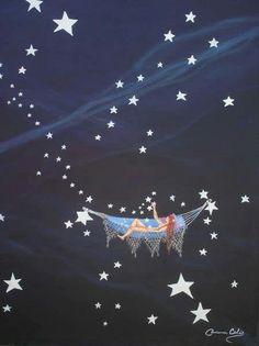 A hammock among the stars... - (art, illustrations, night sky, nighttime, heavens)