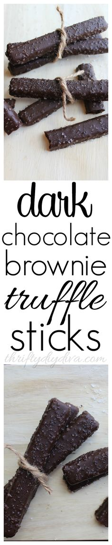 Dark Chocolate Brownie Truffle Sticks with Sea Salt, just like the Red Robin Fruffles dessert! Perfect for World Chocolate Day!