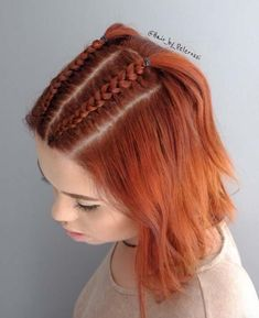 51 Cute Braids for Short Hair: Short Braided Hairstyles for Women ., Frisuren 51 Cute Braids for Short Hair: Short Braided Hairstyles for Women . Pigtail Braids, Braids For Short Hair, Cute Hairstyles For Short Hair, Trending Hairstyles, Curly Hair Styles, Side Braids, Dutch Braids, Short Hair Braid Styles, How To Style Short Hair