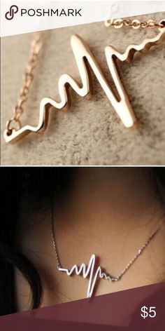 Cute Golden Heartbeat Necklace Comes in silver and golden tone. Jewelry Necklaces