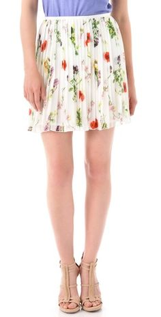 BB Dakota Cambree Print Skirt. i love how sweet the floral and pleats are together