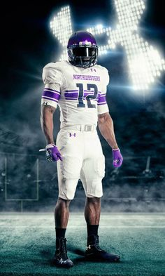 Today, Under Armour unveiled the new 2012 football uniform for Northwestern University, the first Big Ten school to be outfitted in UA Gear. Football Is Life, Football Jerseys, Football Helmets, Football Posters, Football Pics, Football Stuff, Nike Football, College Football Uniforms, Sports Uniforms