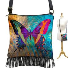 Butterfly Crossbody Bag Small Sling Bag by janinekingdesigns