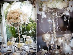 Love this idea!! Candelabras as flower holders!