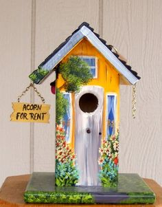 Yellow Bird House by BirdhouseBlessings on Etsy, $69.00