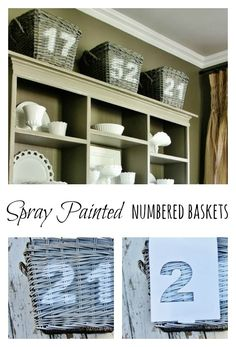 How to spray paint numbers on baskets  www.thistlewoodfarms.com