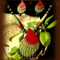 Summer Collection - Summer Love (Green and Red Paisley) ..https://www.facebook.com/terracottajewelryindia