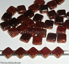 2 HOLE SQUARES BEADS diagonal 6x6 by TheCzechGlassBeads on Etsy