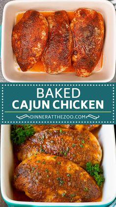 Baked Cajun Chicken, Cajun Chicken Recipes, Chicken Breast Recipes Healthy, Cajun Food, Chicken Pizza, Pollo Cajun, Thanksgiving Dinner For Two, Super Easy Dinner, Crockpot