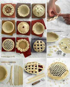Decorative Pie Crust Designs Everything Thanksgiving - Martha Stewart Food No Bake Desserts, Just Desserts, Delicious Desserts, Yummy Food, Dessert Healthy, Baking Desserts, Breakfast Healthy, Health Breakfast, Holiday Baking