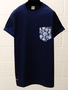 Men's Blue Floral Pattern Navy Blue Pocket by HeartLabelTees, £9.95