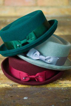 Ladies classic porkpie hat in oxblood by EmilyJaneMillinery