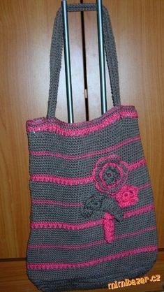 Háčkovala jsem přízí Camilla, háček délka dna šířka v. Handmade Bags, Camilla, Straw Bag, Needlework, Burlap, Reusable Tote Bags, Boho, Knitting, Knits