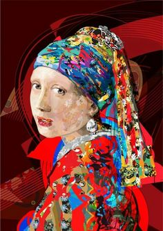 vector art cm Vector art based on Johannes Vermeer The Girl with a Pearl Earring, This is the second study from artwork . Johannes Vermeer, Collage Portrait, Collage Art, Girl With Pearl Earring, Pearl Earing, Art Plastic, Kunst Online, Mona Lisa, Art Base