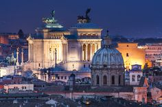 View on Vittoriano from the Gianicolo Hill by night - Rome, Italy