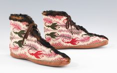 Carriage boots were worn to protect the feet during chilly carriage rides. Worn over delicate evening shoes, they were often fur lined or trimmed, and featured a slit front which allowed them to be donned and doffed with ease