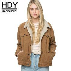 4b1cd66c3f9 HDY Haoduoyi Winter Casual Brown Corduroy Long Sleeve Turn-down Collar  Jacket Single Breasted Basic Women Warm Coat