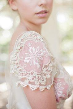 wedding dress #bride #dress #lace #white #pink #pastell