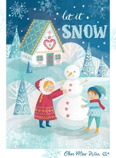 Let It Snow Christmas card design with snowman and kids characters Ohn Mar Win