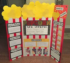 Science Fair Project Idea • Popcorn • I made the stripes out of red duct tape and a white board!  Made kernels our of circles!  Super easy and my son got an A+!