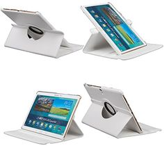 """myLife Alabaster White {Classy Design with Elastic Strap} 360 Degree Rotating Stand Case for Samsung Galaxy Tab S 10.5"""" Inch Tablet (High Quality Koskin Vegan Faux PU Leather Cover + Slim Folding Lightweight Design) myLife Brand Products http://www.amazon.com/dp/B00QMOOC2K/ref=cm_sw_r_pi_dp_TuJHub0V5RX4V"""