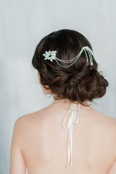 Silver Hair Chain Crystal Hair Chain Lace by BlairNadeauMillinery
