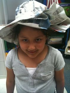 Little Miss Hypothesis - Earth Day Recycled Newspaper Hats . . . must show this to margie!!  i love the tape around the head, then staple & cut strategy . . . seems much more user-friendly than folding!