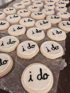 "Sugar cookies icing ""I Do"" hardens bridal shower, bachelorette party, wedding Sugar Cookie Icing, Sugar Cookies, Bachelorette Party Favors, Bachelorette Desserts, Wedding Cookies, Bridal Showers, Bridal Shower Foods, Shower Party, Dessert Table"