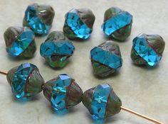 Fancy Czech Fire Polished Gemstone Faceted Donut Beads *** UPICK***