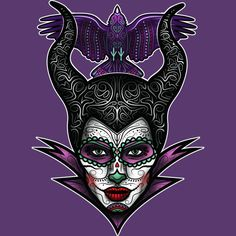 Day of the dead-inspired design of my interpretation of the bad fairy from The Brothers Grimm fairytale 'Sleeping Beauty'. Hope you like it! Disney Day, Disney Love, Disney Magic, Dark Disney, Disney Stuff, Maleficent Tattoo, Maleficent 2014, Evil Princess, Sigil Magic