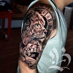 Lion Tattoo Sleeves, Wolf Tattoo Sleeve, Best Sleeve Tattoos, Tattoo Sleeve Designs, Tattoo Designs Men, Clock Tattoo Sleeve, Lion Forearm Tattoos, Lion Head Tattoos, Mens Lion Tattoo