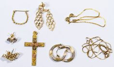 Lot 288: 18k, 14k and 10k Gold Jewelry Assortment; Including an 18k bracelet, 10k pendant and pierced earrings as well as 14k including necklace, (3) pairs of pierced earrings and a single pierced earring; all marked