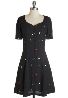 Hit the Right Note Dress in Stars by Nishe - Multi, International Designer, Novelty Print, Buttons, Casual, Americana, A-line, Short Sleeves...