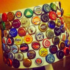 beer caps glued to a lamp shade. would look cool in a man cave or a garage