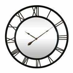 "Charlton Home® Oversized Hamann 37"" Wall Clock | Wayfair Black Spades, Grandfather Clock, Barrel Chair, Telling Time, Iron Wall, Wall Spaces, Wood Colors, Metal Walls"