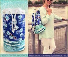Beach Duffle Backpack: TokyoMilk presents Neptune and the Mermaid by Margot Elena for Coats | Sew4Home