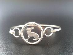 open silver hare bangle