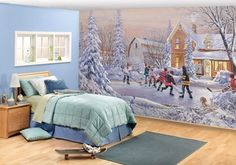 Remarkable rooms with murals by http://sportsdecorating.com. Hockey in the village.  Full wall mural 8 ft 3 in x 13 ft 8 in  8 panels, paste included.  Great price at $99.95