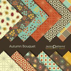Autumn Bouquet digital scrapbooking paper  pack  by JazzyPatterns, $5.50