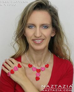 Free Pattern for How to Crochet a Heart and Hearts for Jewelry Necklace Bracelet from Naztazia with YouTube Tutorial Video