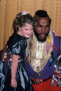 """So cute! """"Forgotten celebrity friendships of the '80s"""" - Drew Barrymore and Mr. T."""