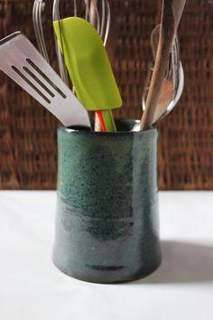 Turquoise Green Stoneware Kitchen Utensil Holder By Janebroadbent