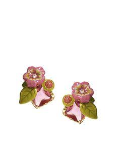 Les Nereides Pink Floral Earrings