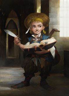 f Halfling Bard Wizard multi-class urban city Lute Magic Book d&d RPG Female Character Portrait Dungeons And Dragons Characters, Dnd Characters, Fantasy Characters, Female Characters, Fantasy Dwarf, Fantasy Rpg, Medieval Fantasy, High Fantasy, Fantasy Portraits