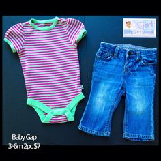 Baby Gap 3-6m Infant Girls Stretch Denim Jeans & Bodysuit 2pc Set $7
