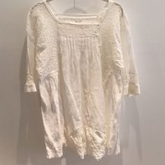 Baby Doll Top/Dress Beautiful laced baby doll top. Can be worn as a mini dress or tunic over jeans or denim skirt! Gently used condition. And minor tear on one of the buttons, but not very noticeable when wearing  Blue Violet Dresses Mini